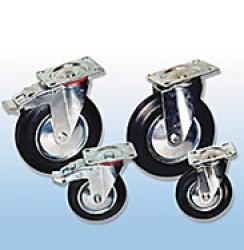 Колесные опоры поворотные промышленные (черная резина)